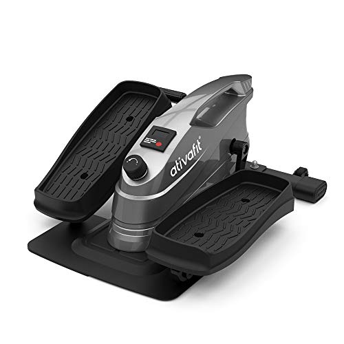 Ativafit Under Desk Elliptical Bike, Pedal Exerciser, Mini Elliptical Machine with Non-slip Pedal, Display Monitor and Adjustable Resistance, Quiet & Compact Electric Trainer Fitness Peddler