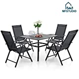 MFSTUDIO 5 Piece Patio Metal Dining Set, 37' Square Bistro Wrought Iron Mesh Larger Table and 4 Folding Textilene Portable Chairs with 7 Levels Adjustable- Umbrella Hole 1.57'