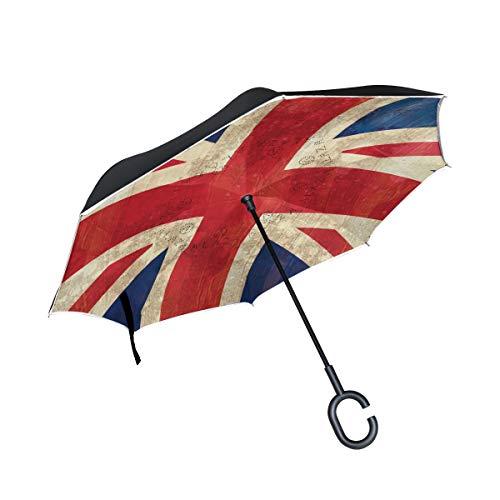 Double Layer Inverted Umbrella Winddichte Regensonnen-Regenschirme mit C-förmigem Griff - Blue Red Union Jack Flag