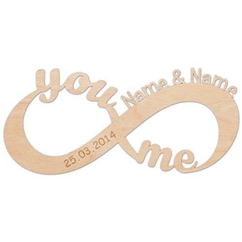 Unendlichkeitszeichen - You and Me - aus Holz mit Ihren Namen Zeichen der Liebe schöne Geschenkidee...