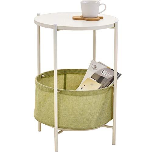 GJ Okrągły stolik pomocniczy, stolik kawowy, stolik nocny, stolik do kanapy, stolik końcowy z koszem z tkaniny, do salonu, sypialni, 39 x 55 cm
