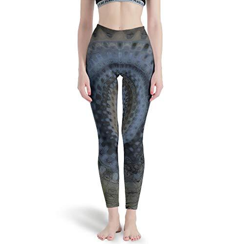 Frauen Leggings Dunkle Mandala Spirale Blume Geometrie Grafik Benutzerdefiniert Yogahosen Gamaschen Tanzhosen für Camping White l