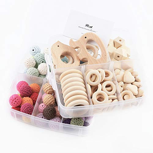 Mamimami Home 2PC Baby Teether Holz Diy Tier Rassel organischen Teether Dschungel Spielzeug Holz Waldorf Spielzeug Holz Teether Halskette/Armband DIY Zubehör