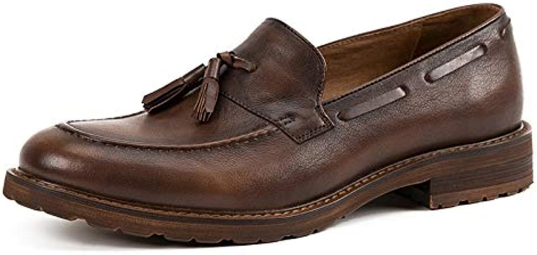 Easy Go Shopping handgjorda mansskor läderloafers latmaskar England s tillfälliga tofsar lågskor män Oxford Dress skor Cricket skor (färg  Kaffe, Storlek  6.5 -UK)