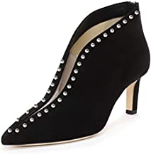 YDN Women Pointed Toe V Cut Ankle Booties Mid Heel Faux Suede PVC Zippers Prom Party Dress Short Boots Black-Studs-8cm 6