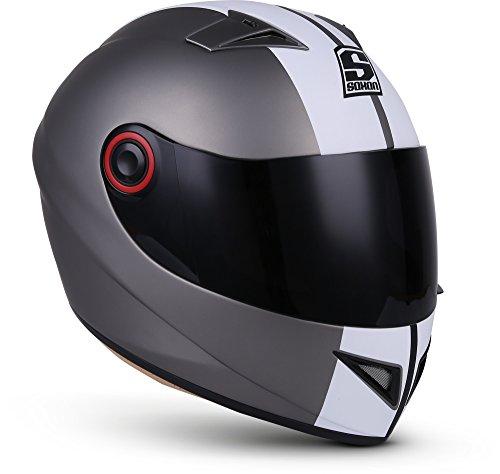 "SOXON® ST-666 ""Deluxe Titan"" · Integral-Helm · Full-Face Motorrad-Helm Roller-Helm Scooter-Helm Cruiser Sturz-Helm StreetFighter-Helm Sport MTB · ECE 22.05 Visier Schnellverschluss Tasche S (55-56cm)"