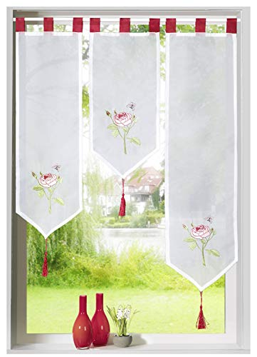 Heimtexland ® vitrage set 3-delig geborduurd rozen venster afbeelding rode lussen bistrogordijn Typ672