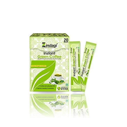 Zindagi Natural Instant Green Coffee Powder - Weight Loss Coffee Powder 20 Sachets - Sugar-Free Health Drink