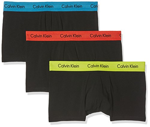 Calvin Klein Herren 3p Low Rise Trunk' Boxershorts, Schwarz (Schwarz Rebel mit Vibration/Blue Jay Wb Vbo), Medium (3er Pack)