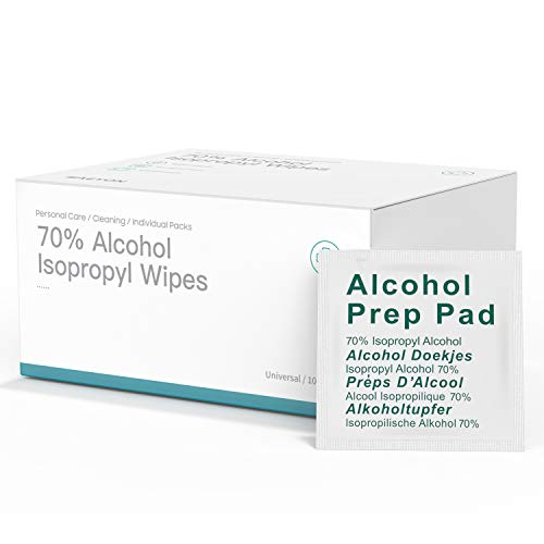 Deyooxi 100 Pezzi Usa e Getta Tamponi Alcool,75% Pulizia Tamponi, Alkoholpads,60 x 60 mm Foglio di Cotone Rilievi dell'alcool Pulizia per la Pulizia a Casa o all'aperto