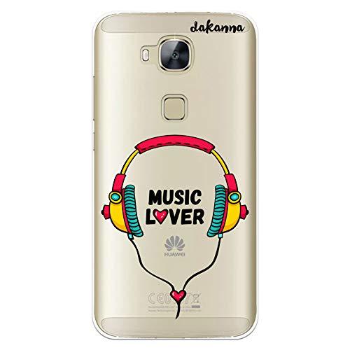 dakanna Funda para Huawei G8 - GX8 | Auriculares con Frase: Music Lover | Carcasa de Gel Silicona Flexible | Fondo Transparente