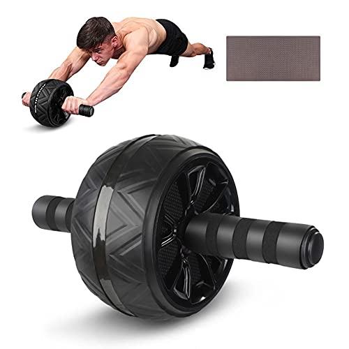 Rueda Abdominales Fitness, Esterilla Antideslizante para Rodillas, Fitness Aparatos para el Hogar, para gimnasio en casa (Negro)