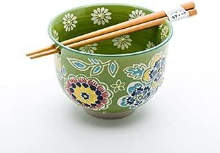 Quality Japanese Ramen Udon Noodle Bowl with Chopsticks Gift Set 5 Inch Diameter (Green Flower)