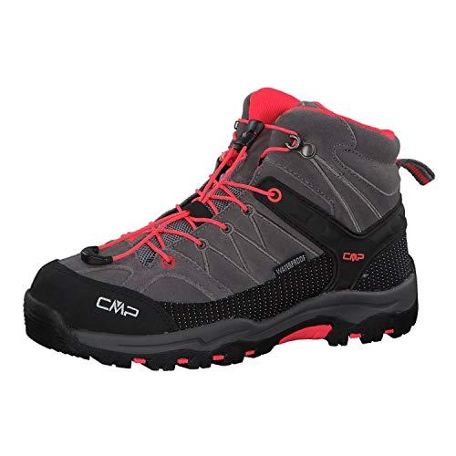 CMP - Rigel Mid - Chaussures de Randonnée - Mixte Enfant - Gris (Grey-red Fluo) - 32