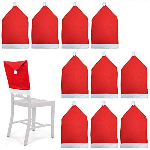 10 Fundas protectoras para sillas temáticas de Navidad - Rojo y blanco con pompones - Perfecto para fiestas y celebraciones navideñas.