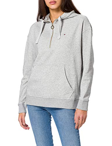 Tommy Hilfiger Damen Th ESS Oversized Half Zip Hoodie Kapuzenpullover, Hellgrau(Light Grey Heather), XL