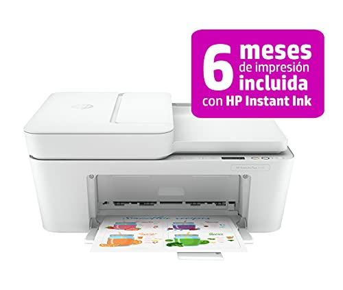 HP DeskJet Plus 4120 3XV14B, Impresora Multifunción A4, Imprime, Escanea, Copia, y Fax, Wi-Fi, USB 2.0, HP Smart App, Incluye 3 Meses del Servicio Instant Ink, Blanca