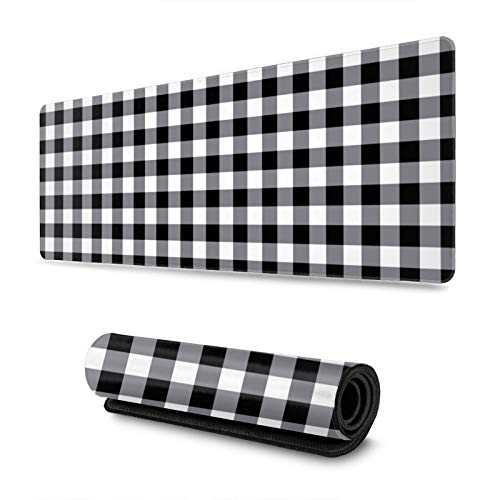 Gray and Black Buffalo Plaid Gingham Tartan Gaming Mouse Pad, Long Extended XL Mousepad Desk Pad, Large Non-Slip Rubber Mice Pads Stitched Edges, 31.5'' X 11.8''