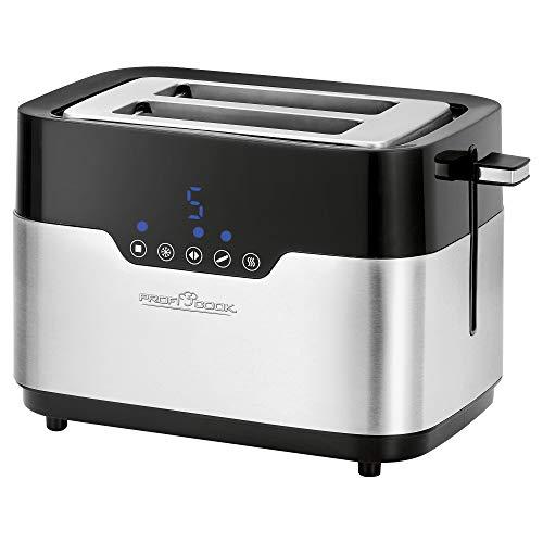 Profi Cook Toaster PC-TA 1170, Sensor Touch, Brötchenaufsatz, Krümelschublade, Zentrierfunktion, 7 Bräunungsstufen, Edelstahl-Schwarz