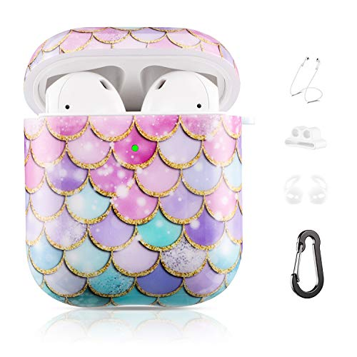 Drodalala Airpod Case for Women Men Airpod Case iPhone 11 with TPU Durable Protective Cover-2&1 Airpods Case for Girls Kids, Shockproof Drop Proof Apple Airpods Case with Keychain(Pink Fish Scales)