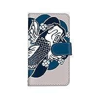 [bodenbaum] Galaxy S10+ SC-04L / SCV42 手帳型 スマホケース カード ミラー スマホ ケース カバー ケータイ 携帯 SAMSUNG サムスン ギャラクシー エステン プラス docomo au 和柄 鯉 花 和風 d-084 (A.ブルー)
