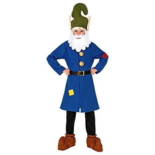 WIDMANN 10629 - Disfraz infantil de enano, parte superior, cinturón, gorro con barba, gnomo, gnomo, cuento de hadas, fiesta temática, carnaval