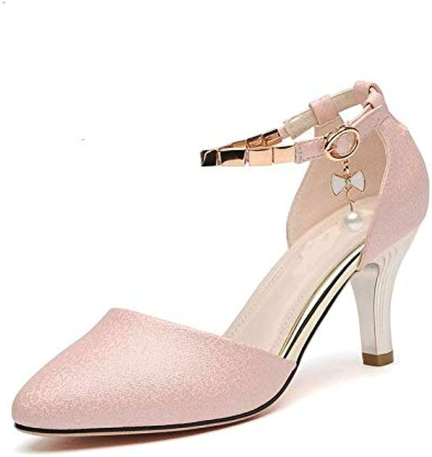 SUNNY Store Lady Pumps Pointed Toe Office Lady Pumps Buckle Strap Platform High Heels