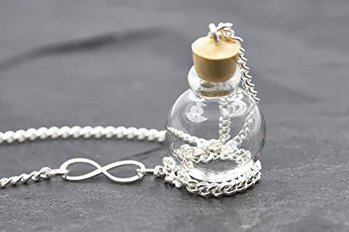 Wunschkugel Infinity silber Kette befüllbar Tierhaar Kette kleine Urne - Unendlichkeit