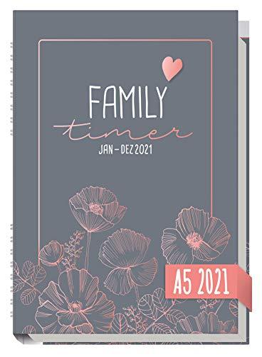 Family-Timer 2021 A5 [Poppy] Der Familien-Kalender! 12 Monate: Januar bis Dezember 21   Familien-Planer für bis zu 4 Personen + viele hilfreiche Features   nachhaltig & klimaneutral
