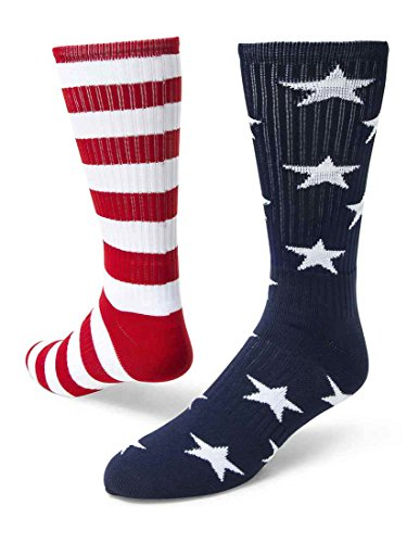 Red Lion Freedom Mismatched Crew Socks American Flag (Navy Blue/White/Red - Medium)