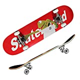 Skateboards for Beginners, Complete Skateboard 31 x 8, 7 Layer Canadian Maple Double Kick Concave Standard and Tricks Skateboards for Kids and Beginner (red)