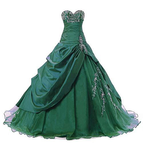 Zorayi Damen Trägerlos Lange TAFT Abschlussball Kleid Ballkleid Promkleider Smaragd Größe 50