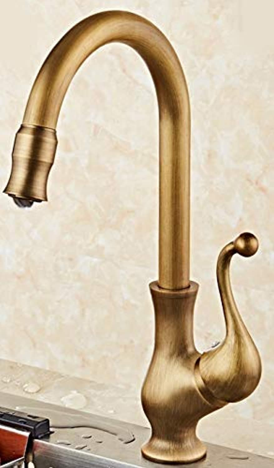 Lpophy Bathroom Sink Mixer Taps Faucet Bath Waterfall Cold and Hot Water Tap for Washroom Bathroom and Kitchen Retro Copper Hot and Cold redating Single Handle Single Hole H