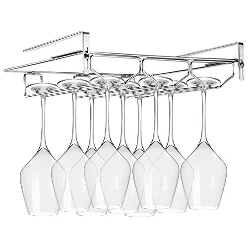 FANGSUN Adjustable Wine Glass Rack, Storage Stemware Holder Under Shelf 3 Rows Organizer Hanging Shelf for Bar Kitchen