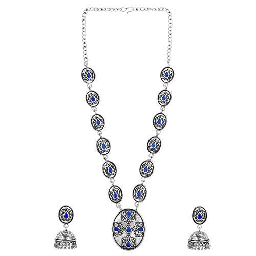 Efulgenz Boho Vintage Antique Gypsy Indian Oxidized Silver Crystal Cubic Zirconia Statement Necklace Jhumki Earrings Jewellery Set