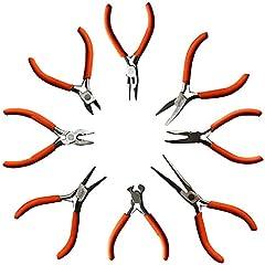 Set 8 Pc Alicates - Cortacables, Alicate Punta Plana y Alicate Punta Redonda y Más - Kit Herramientas Resistentes para Electricistas y Carpintería, Bricolaje y Hacer Joyas - Ergonómicos (Pequeña)