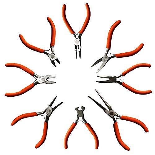 8 Stck Set aus Zangenwerkzeugen - Drahtschneider, Flachzange, Rundzange und mehr - Hochleistungs Werkzeuge Set für Elektro- und Holzarbeiten, DIY und Schmuckherstellung - Ergonomischer Griff (Klein)