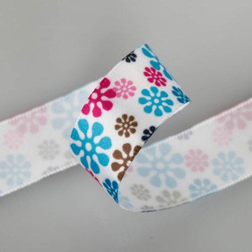 Neotrims Daisy Floral Imprimé Flocon de Neige Ruban Satin en ligne par la cour 16, 25 mm. Flocons de neige Fleur Ruban?; un design floral ruban en sat
