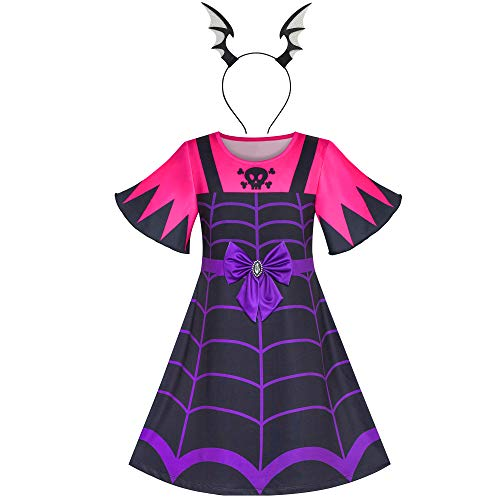 Sunny Fashion Vestido para niña 2 en 1 Vampiro Disfraz de Halloween Venda 3 años