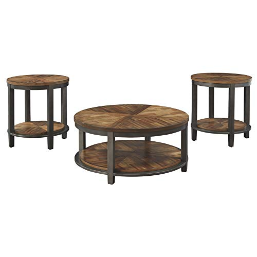 Signature Design by Ashley - Roybeck Occasional Table Set w/ Fixed Shelves - Includes Table & 2 End Tables, Rustic Brown
