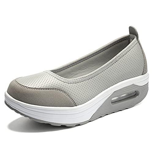 Zapatos De Tacón Negativo Suela con Colchón Aire Calzado Deportivo para Mediana Edad Malla Transpirable Calcetines Casuales Damas Trabajo Enfermería Correr por Aire,Gris,39