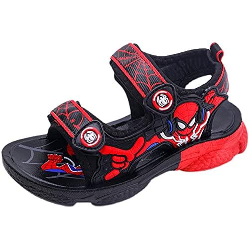 Hflyy Sandalias Niños Zapatos Spiderman Niños Zapatillas Playa Niñas Verano Sandalia Caminar Informal Aire Libre Zapato Agua Antideslizante Suela Suave Zapatillas Punta,Red-31/Inner Length 18.5cm
