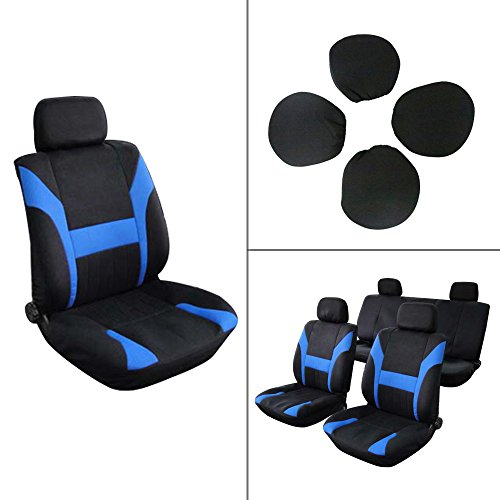 ECCPP Universal Car Seat Cover w/Headrest - 100% Breathable Polyester Stretchy Durable for Most Cars Trucks Vans(Black/Blue)