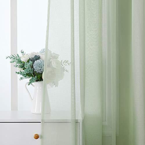 MIULEE 2 Piezas Cortinas Poliéster Translucida de Dormitorio Moderno Ventana Visillos Salon para Sala Cuarto Dormitorio Comedor Salon Cocina Salón 140x160cm Verde