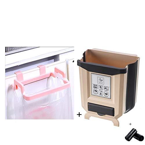 Nuevo producto plegable cocina bote de basura gabinete de cocina puerta de basura colgando bote de basura coche bote de basura inodoro basura almacenamiento de residuos-2pcs