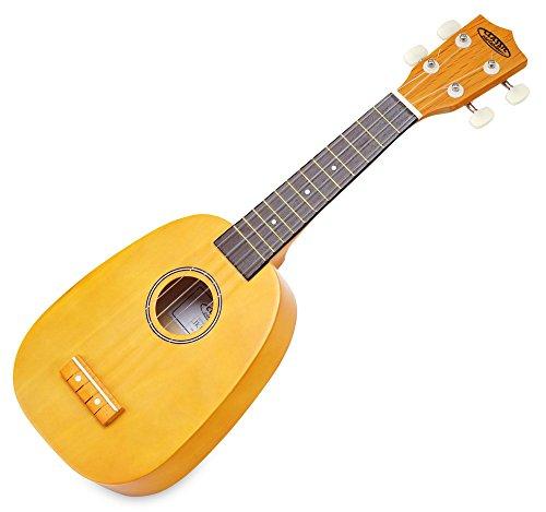 Classic Cantabile US-100P Sopran-Ukulele Pineapple (originelle Optik, 12 Bünde, edle Verarbeitung, leichtgängige Gitarrenmechanik, Hawaii-Feeling) gold-gelb
