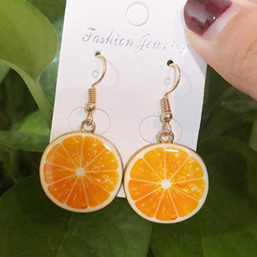DAN Resin stereo lemon orange earrings long pendant fashion summer fruit jewelry for girls and teenagers gifts wholesale,5