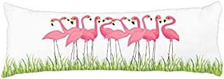 Ailovyo Cuban Pink Flamingos Silky Shiny Satin Body Pillow Cover, 20-Inch x 54-Inch