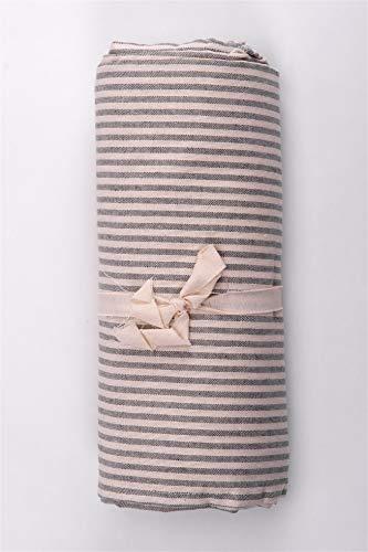 HomeLife - Telo Arredo Copridivano a Righe – Lenzuolo Copritutto Multiuso in Cotone – Granfoulard Copriletto per Letto Matrimoniale [260 X280] - Grigio – Made in Italy