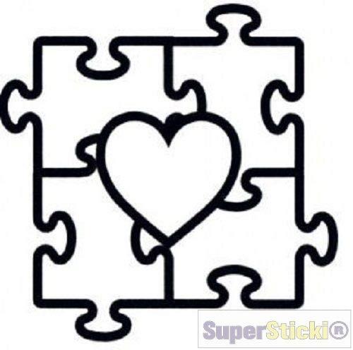 SUPERSTICKI Pegatina de corazón con forma de puzzle de aprox. 20 cm, para coche, moto, tuning, de alto rendimiento, para todas las superficies lisas, resistente a los rayos UV